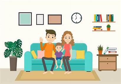 Stay Cartoon Sofa Living Happy Vectors Clipart