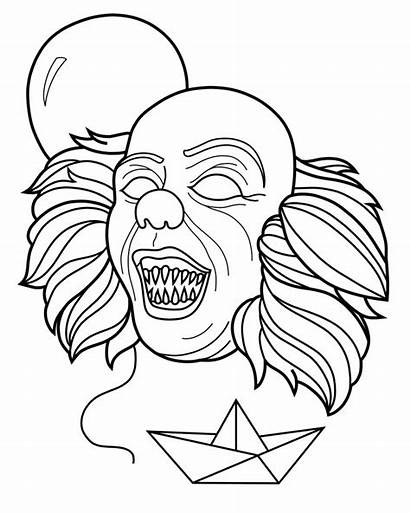 Pennywise Creepy Coloring Pages Clown Printable Penny