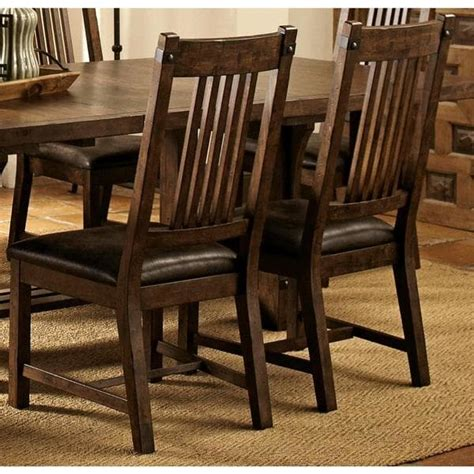 rimon solid wood mission style rustic dining chairs set