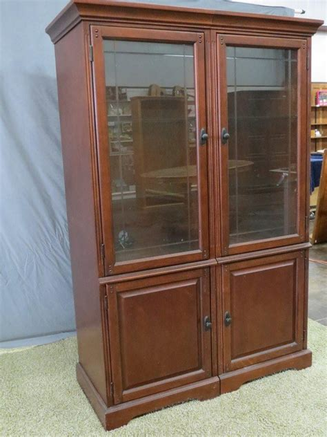 Curio Cabinets Big Lots by Two Section Lighted Etched Glass Curio Cabinet