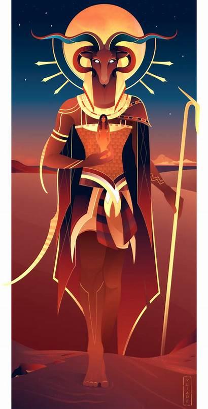Egyptian Gods Yliade Khnum Deviantart Fantasy Illustrations