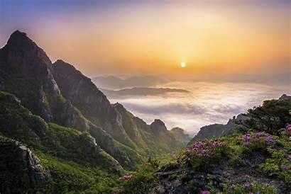 Korea Mountain Morning South Nature Sunrise Landscape