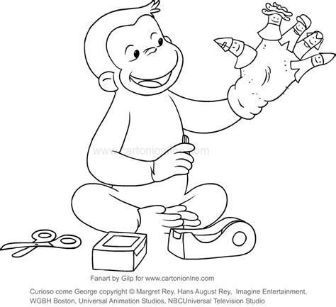disegni da colorare di george disegno di george che costruisce le marionette curioso