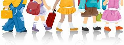 Walking Feet Clipart Scuola Bambini Clip Cartoon