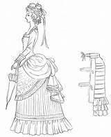 Victorian Drawing Bustle Coloring Skirt Line Drawings Hoop Later Signs Visit Dressing Ranch sketch template