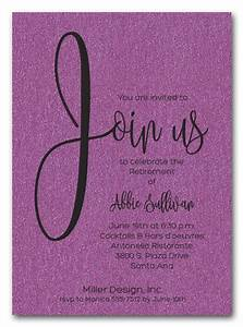 Graduation Dinner Invitation Wording Ideas Shimmery Purple Join Us Retirement Party Invitations