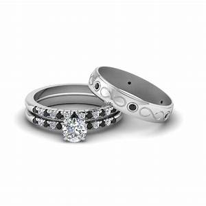 round cut daimond trio matching wedding set for him and With platinum wedding ring sets for him and her