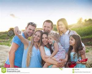 Happy Friends Selfi Pictures At The Beach Stock Photo ...