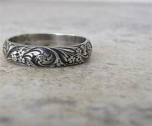 Engraved antique wedding band floral pattern ring silver for Silver band wedding rings