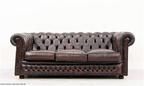 Chesterfield Chippendale Sofa Leder Antik Vintage Couch