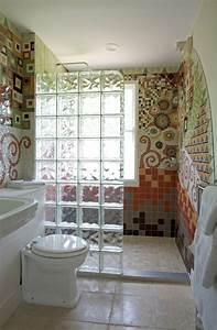 Paroi Douche Verre Sablé : mettons des briques de verre dans la salle de bains ~ Premium-room.com Idées de Décoration