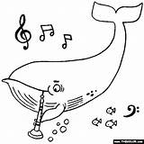 Oboe Coloring Whale Playing sketch template