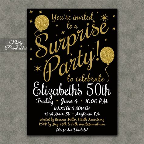 Surprise Party Invitations Printable Black & Gold Surprise. Business Card Design Templates. Occupational Therapy Graduate Programs. Unique Cover Letter Clinical Research. Unique Traditional Resume Examples. Masters Degree Graduation Gift. Flyer Generator Free. Photoshop Poster Templates. Create A Book Online Free
