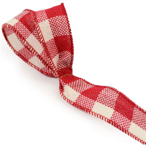 faux burlap ribbon red cream gingham check