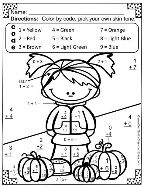 color by numbers fall math addition material 3