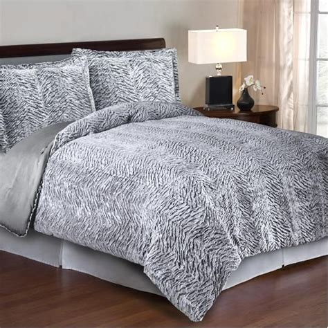 cozy nights 3pc comforter set silver carved mink faux fur