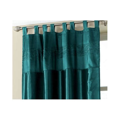 teal tab top embroidered curtain panel hd home direct