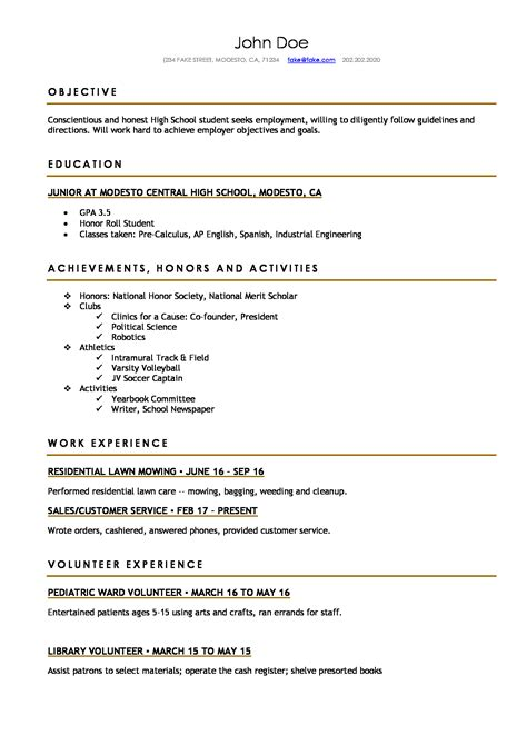 Resume Templae by High School 3 Resume Templates Resume