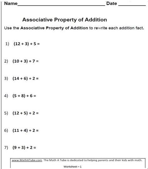commutative associative distributive property worksheets