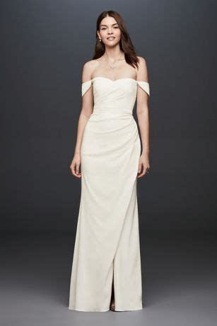 draped   shoulder crepe sheath gown davids bridal