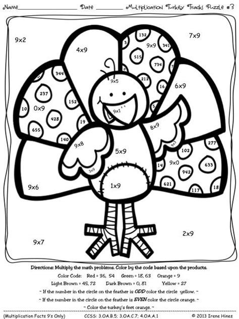 coloring pages multiplication turkey tracks  feather