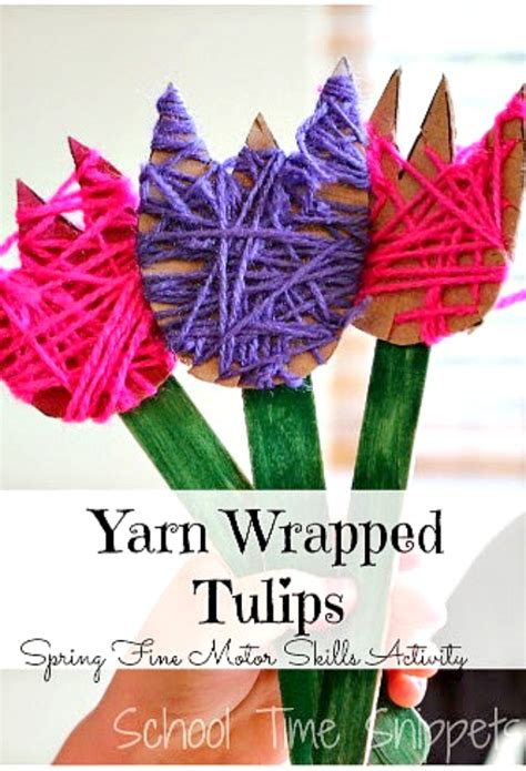 pretty yarn wrapped tulip easy diy spring flowers