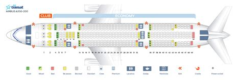 seat map airbus a330 200 air transat best seats in the plane