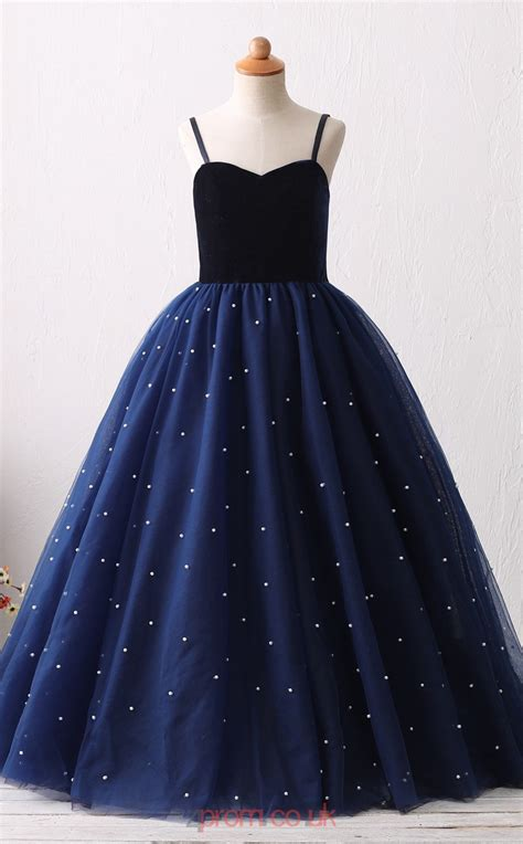 Navy Blue Tulle Princess with Straps Long Kid's Prom ...