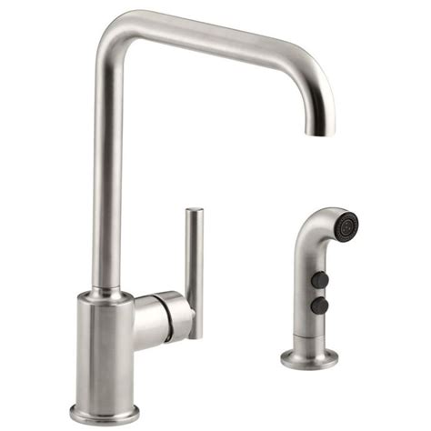 kitchen faucet with spray shop kohler purist vibrant stainless 1 handle high arc