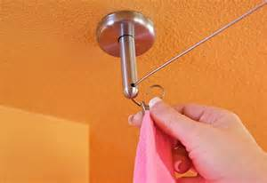 Ceiling Mount Drapery Rod by Installing Cable Wire For Hanging Curtains Sew4home
