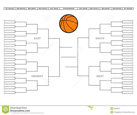 blank college basketball tournament bracket royalty