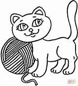 Yarn Colorare Coloring Kot Colorear Gomitolo Dibujos Gattino Kolorowanka Gatos Kolorowanki Imprimir Druku Disegni Koty Disegno Colorir Kotek Ball Printable sketch template