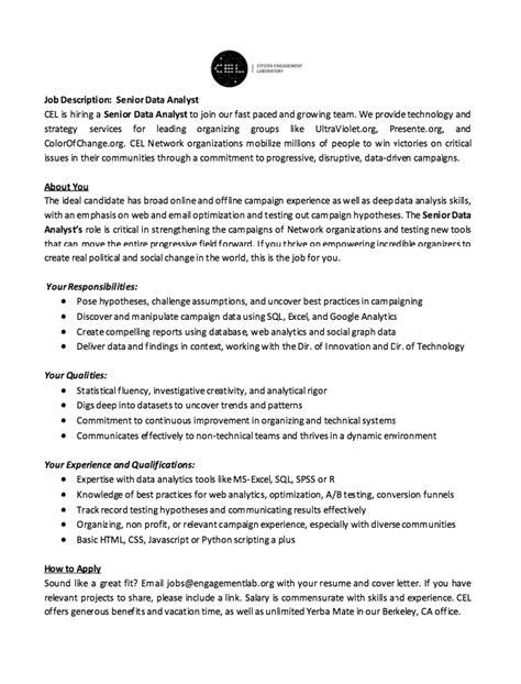 resume data analyst description http