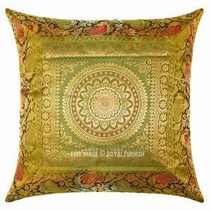 Green, Floral, Medallion, Circle, 16x16, Decorative, Silk, Throw, Pillow, Case, 16x16