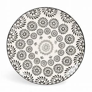 Assiette Plate Blanche : assiette plate en fa ence noire blanche d 27 cm chiang mai maisons du monde ~ Teatrodelosmanantiales.com Idées de Décoration