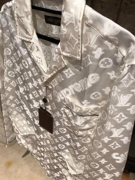 louis vuitton  supreme white box monogram logo lv pajama xlarge button  top size  xl
