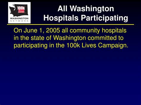 lives campaign 100k started getting participating hospitals washington ppt powerpoint presentation june