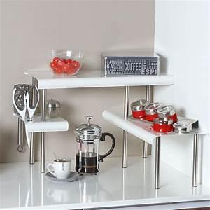 Etagere D Angle Cuisine : etag re d 39 angle blanche pour la cuisine salle de bain ~ Melissatoandfro.com Idées de Décoration