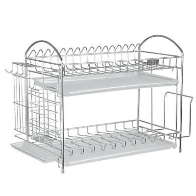 tiers dish drying rack  stainless steel kitchen holder  tray  ebay
