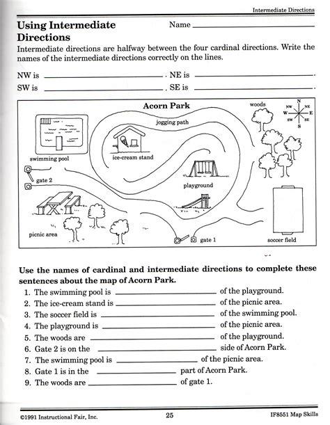 cardinal  intermediate directions worksheets