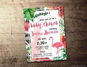 Pink Raffle Tickets Tropical Baby Shower Invitation Flamingo Theme Pineapple