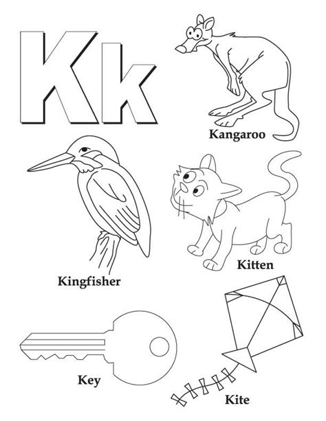 colors starting with k my a to z coloring book letter k coloring page