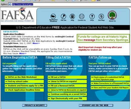 check the status of federal financial aid application