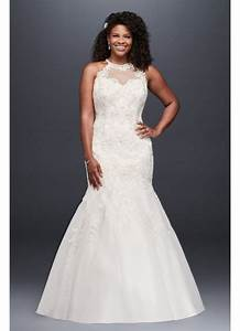 jewel illusion halter lace plus size wedding dress david With plus size halter wedding dresses