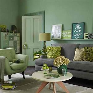 26 amazing living room color schemes decoholic for Green and gray living room