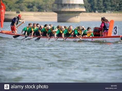 Dragon Boat Racing by Dragon Boat Racing On Bewl Water Reservoir In Kent A