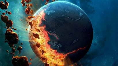 Planet Space Earth Falling Asteroids Wallpapers Background