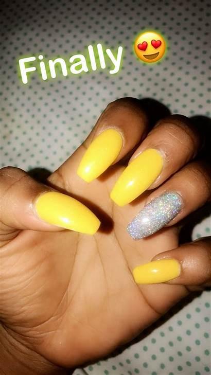 Nails Yellow Acrylic Glitter Silver Neon Gold