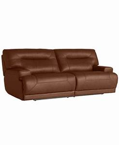 Ricardo leather reclining sofa power recliner 88quotw x 44quotd for Macy s reclining sectional sofa