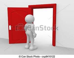 Clip Art of Open door - 3d people - human character ...